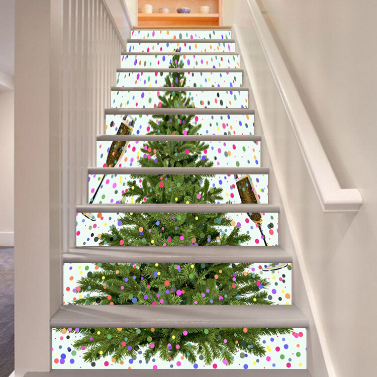 3D Christmas tree 3 Stair Risers Decoration Photo Mural Vinyl Decal Wallpaper UK
