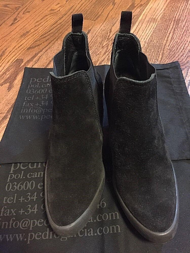 PEDRO GARCIA BLACK w/2 Suede Ankle Stiefel Größe 38  w/2 BLACK Dust Bags 6a4ff8