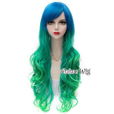 Long Blue Mixed Green 75CM Curly Fashion Cosplay Lolita Women Girls Harajuku Wig