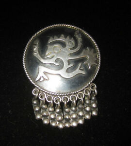 Isidro-Garcia-Pina-Maricela-Taxco-Sterling-Silver-Pin-Brooch-Aztec-Monkey