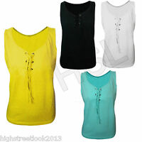 New Plain Sleeveless Ladies Stretch Long Strappy Camisole Vest Tank Top