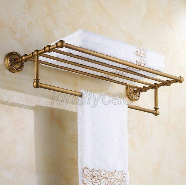 Antique Br Wall Mount Bathroom Towel Rack Rail Bar Shelf Kba087 Hover To Zoom
