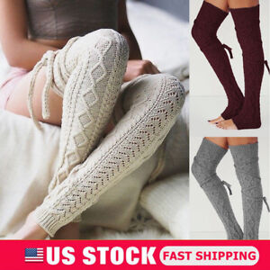 Women-Girls-Cable-Knit-Extra-Long-Boot-Socks-Over-Knee-Thigh-High-Warm-Stocking