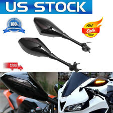 2x Motorcycle Rear View Side Mirrors Rearviews Integrated LED Turn Signals Light