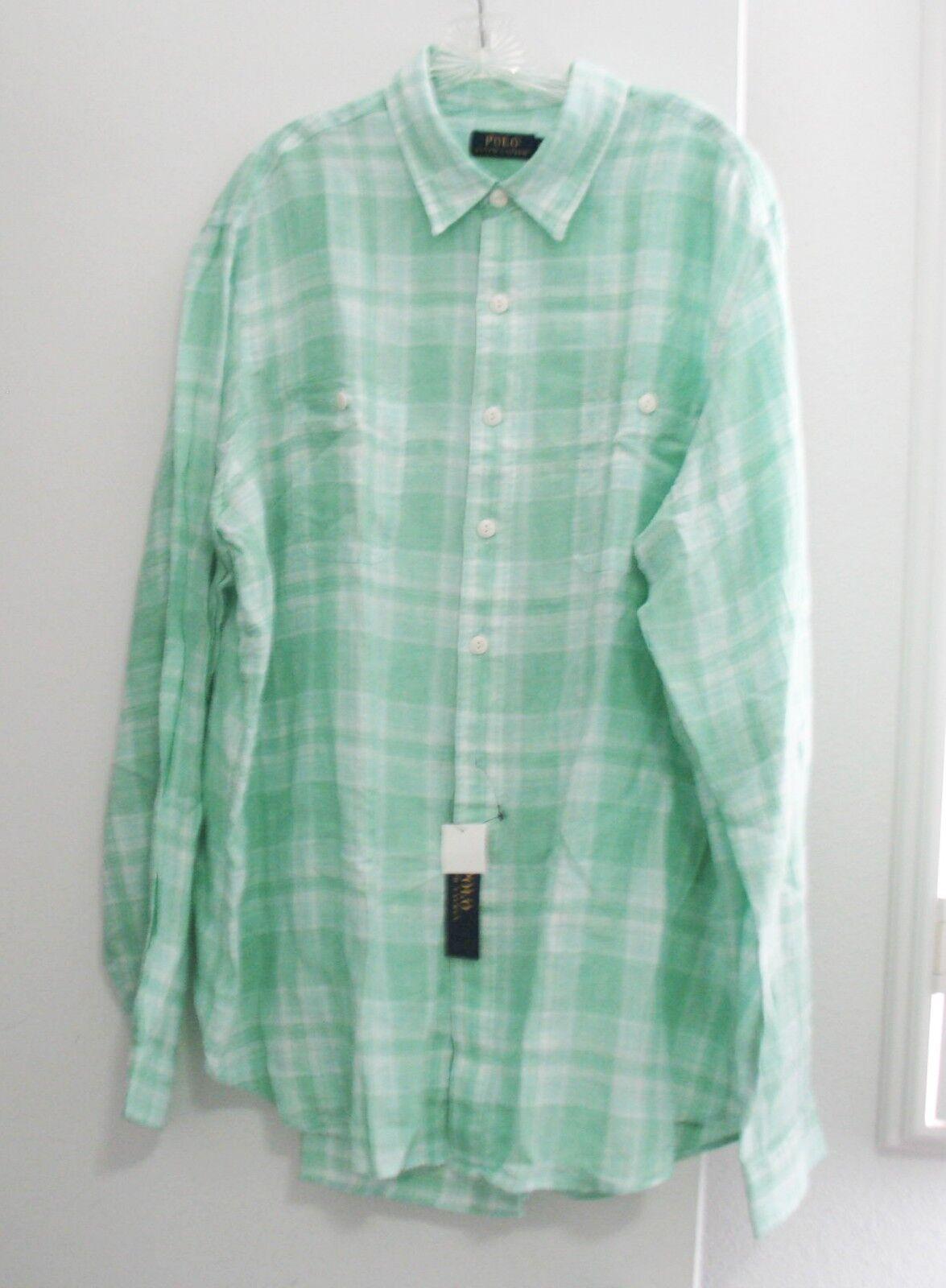 Polo Ralph Lauren Mens Plaid Linen Long Sleeve Workshirt White Green  Sz L - NWT