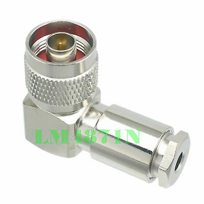 1x Connector N male plug 90° right angle clamp RG58 RG142 LMR195 RG400 cable
