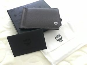 best sneakers b01f3 0a4df Details about NWT AUTHENTIC MCM Men's Money Clip Card Case Wallet, Dark  Brown w/Black Leather