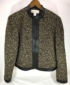 Strik W New York 16 Kvinders Læderforing Jacket Brown Up Blend Wool Jones Zip xRa6tw