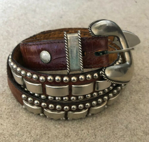 AL BERES 70s Nickel Silver Studded Concha Belt USA