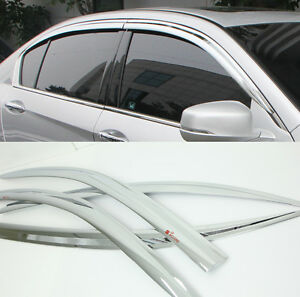 Chrome Door Window Sun Visor Wind Rain Vent 4p 1SET For 2012 2014 ... bf18b02298d