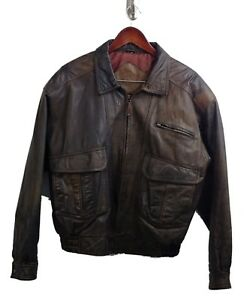 Vintage-Classic-Cosi-Genuine-Leather-Bomber-Jacket-Men-039-s-Size-L-Brown-EUC