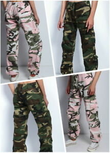 Womens-Ladies-Army-paratrooper-Comfort-Loose-Low-Rise-Fatigue-Cargo-Pants