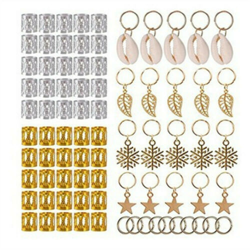 80PCS//Bag Gold Hair Braid Clip Pendant Dreadlocks Bead Ring Cuff Hair Accessory
