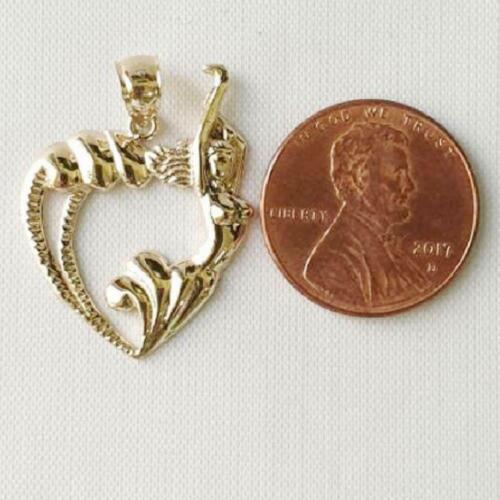 14k or Jaune sirène avec pendentif en forme de Cœur//Charme made in USA