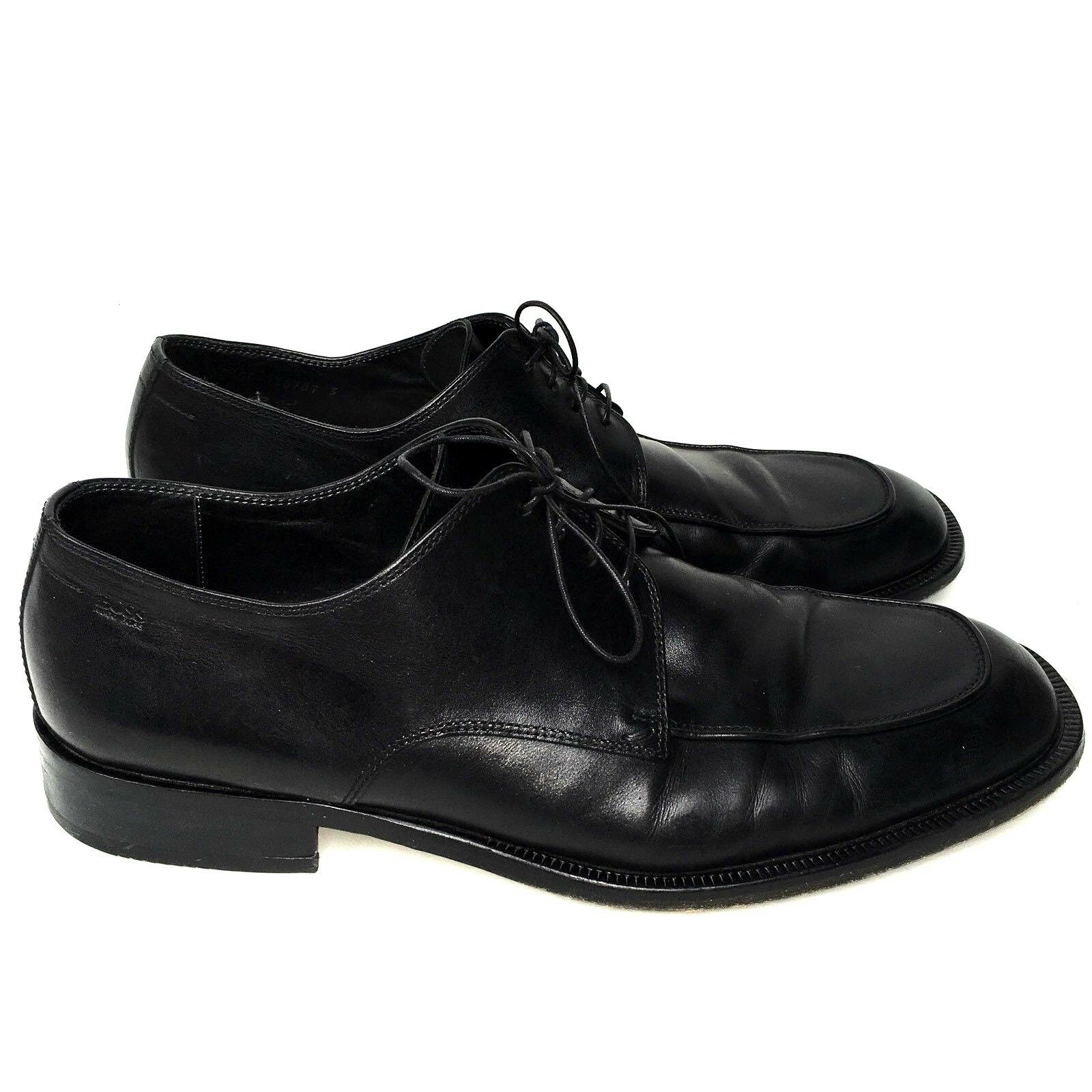 HUGO BOSS Nero Pelle Lace-Up Dress in Shoes Uomo Sz 12 Made in Dress Italy READ d1b682