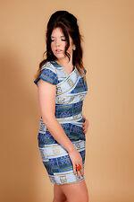 Vintage 2 tone blue & gold greek aztec pattern bandage mini dress 60s 70s