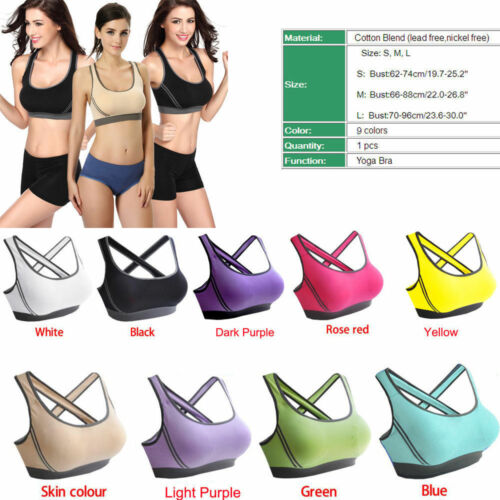Women Padded Bra Racerback Top Athletic Vest Gym Fitness Sports Yoga Stretch new