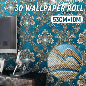 10M-53cm-3D-Wall-Paper-Roll-Embossed-Shiny-Feature-European-Style-Wallpaper