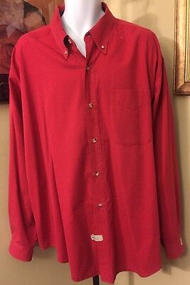 Tri Mountain Red Button Up BIG Man's Long Sleeve cotton Shirt Size 2 XL EUC