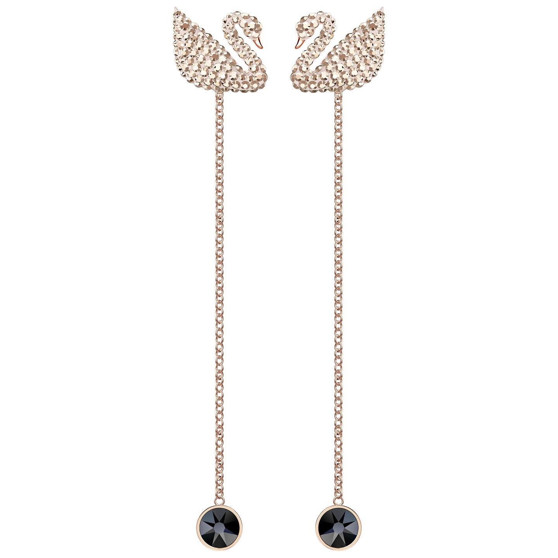 Swarovski 5373164 Iconic Swan Pierced Earrings Rectangular,RG Plated RRP  149