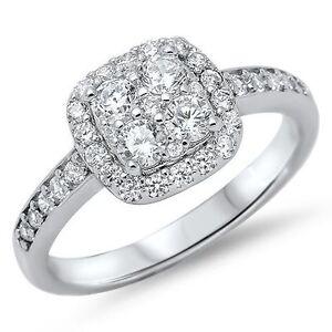 STERLING SILVER Simulated Diamond Square Illusion Halo Ring Sm Size 4 5 6 H J L