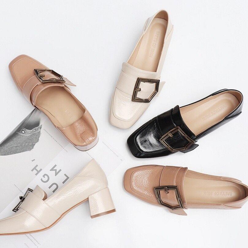 Dedo del pie cuadrado para mujer mujer mujer tacones gruesos Charol Bombas Zapatos informales Decoración De Hebilla  envío gratis
