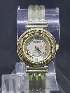 Vtg Sterling Silver Ecclissi Ladies Watch Bracelet Hinged Cuff 3010 55.8g #13