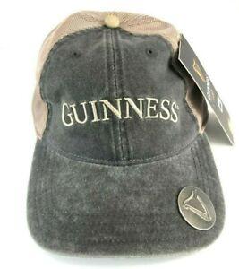 Men Guinness Grey & Tan Bottle Cap Opener Baseball Hat Irish Adjustable Velcro Strap Hats