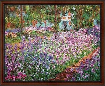 The Garden by Claude Monet. Art Poster Print Dark walnut Real Wood Frame #4