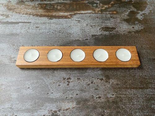 UK Handmade Wooden recycled Teak Tea Light Candle Holders