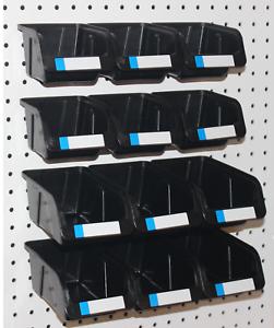 "Pegboard Bins 9 Pack Organize 1//8/"" Hole Peg Board Hooks to both 1//4/"""