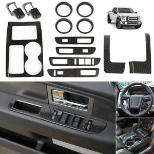 Carbon Fiber full set Interior Decoration Cover kit inner Accessories for F150