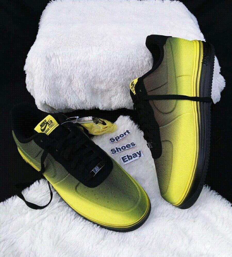 b8ed023d6142 12 Men s Nike Air Lunar Force 1VT ME SH Black yellow sneakers 599499 700