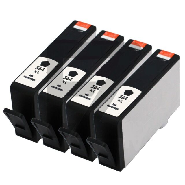 4PK HP 564XL Black Ink Cartridge for PhotoSmart 7510 7520 5510 5520 6510 printer