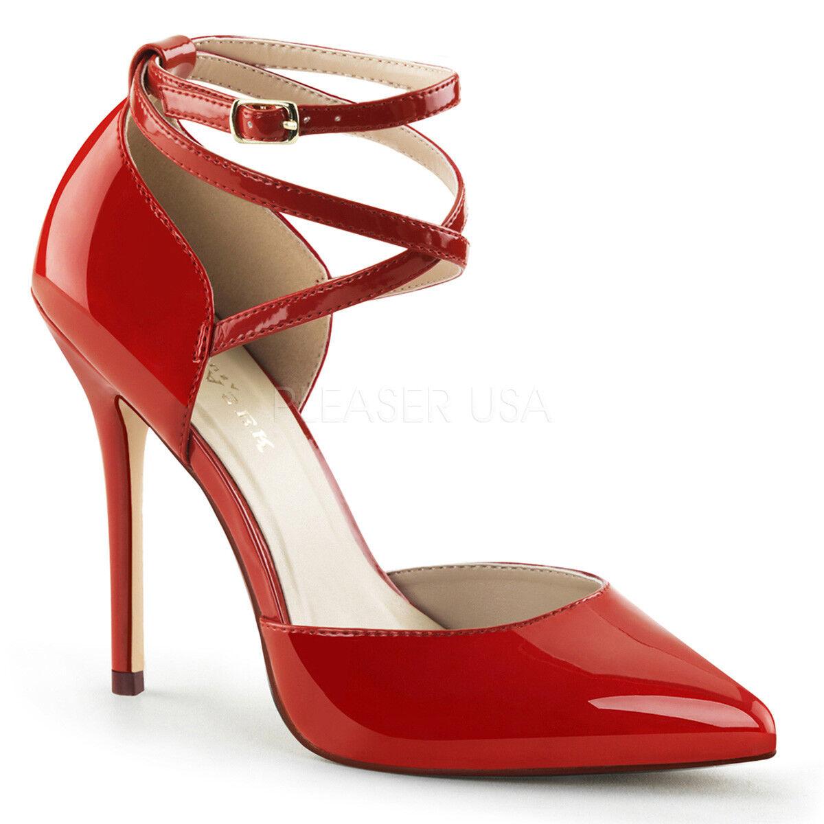 PLEASER AMUSE-25 ROT PATENT CRISS-CROSS STILETTO HEEL Schuhe