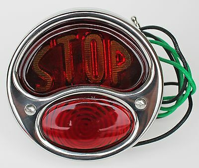 "Motorcycle DELUXE Tail light Assy ""STOP"" Stainless NEW 12 volt w/ license light"