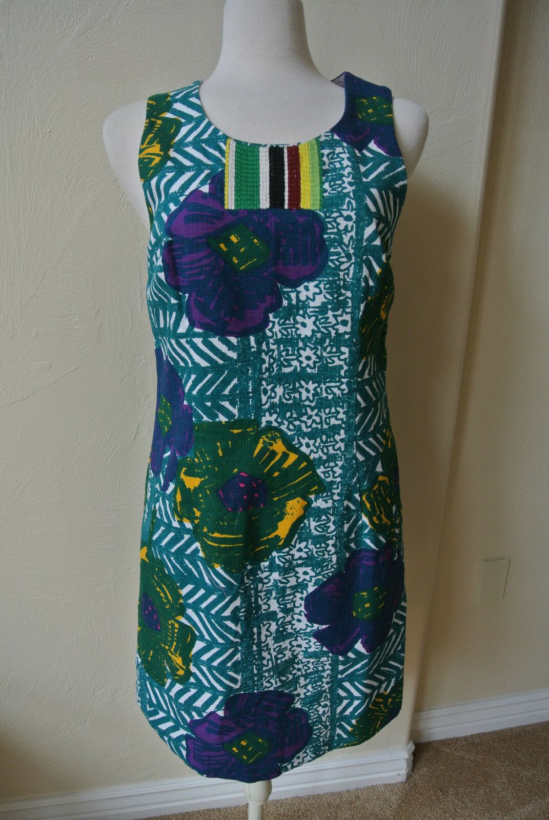 ANTHROPOLOGIE Vanessa Virginia 8 Graphic Tropical Hibiscus Shift Dress NWT