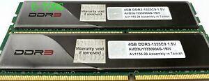 AVEXIR-8GB-4GBx2-AVD3U13330904G-1SW-1-5V-DIMM-DDR3-1333C9-240-PIN