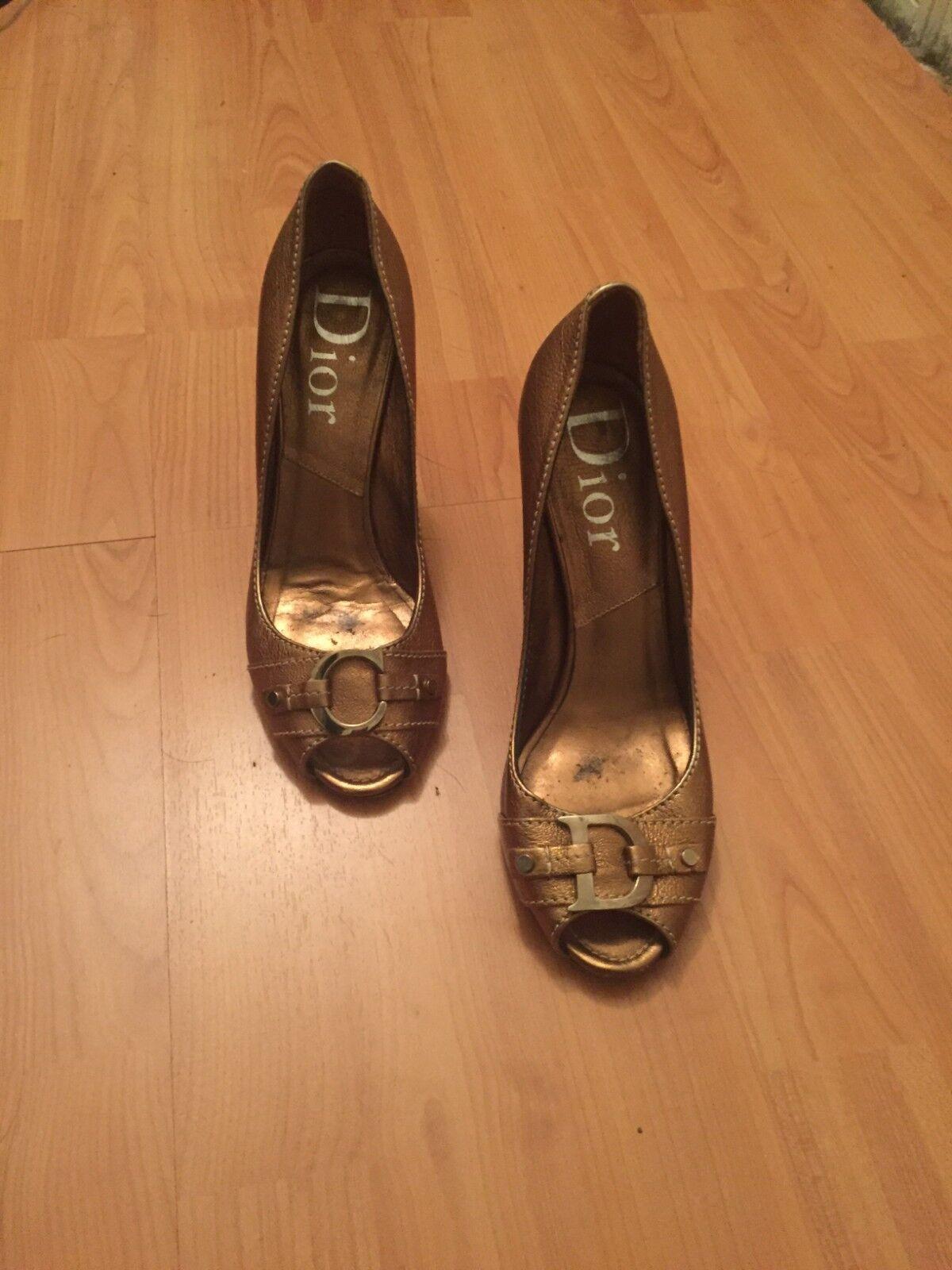 Christian Christian Christian Dior kvinnas guld klackar  Open Toe Pump Storlek 38  grossistaffär
