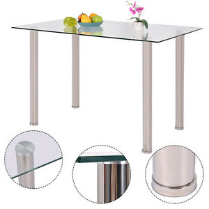 Clear Glass Top Dining Table Rectangle Stainlesss Steel