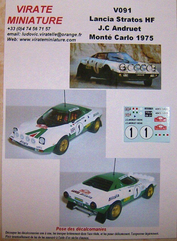 V091 LANCIA STRATOS HF RALLYE MONTE CARLO 1975 JEAN-CLAUDE ANDRUET DECALS VIRATE