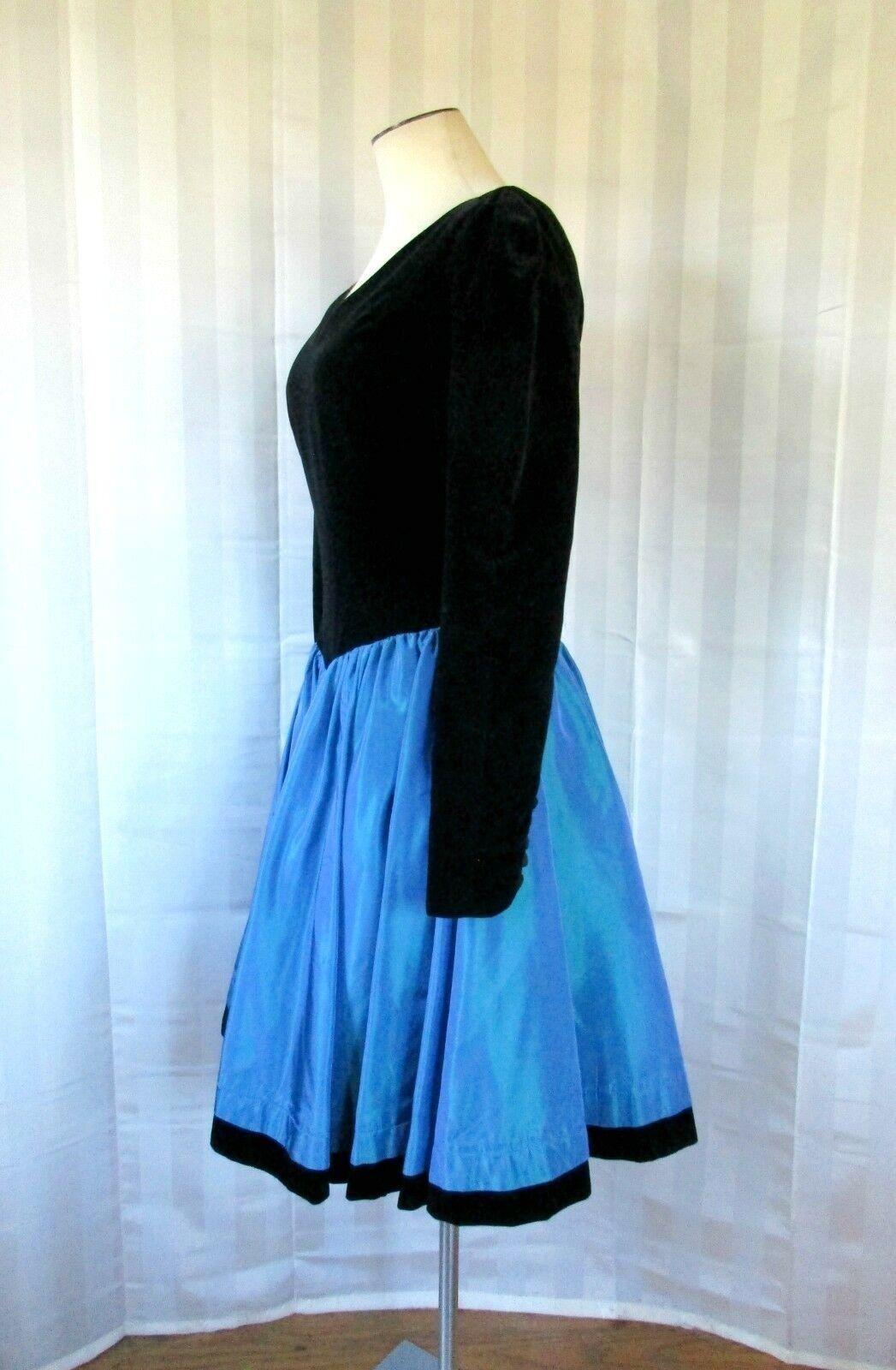 Vintage Laura Ashley Party Dress 1980s 1990s Blac… - image 2