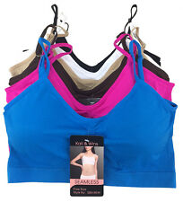 6 Women's Sports Bra Spaghetti Strap Padded Stretch Assorted Color Queen Size