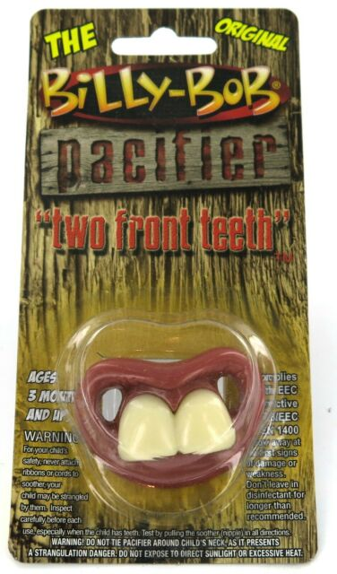 BILLY BOB TWO FRONT FAKE TEETH W RING CHILDRENS PACIFIER  baby pacifer teether