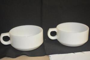Lot 2 Mugs-Milk Glass-Vintage-Chile-Cereal-Soup-Bowl-Handle ...