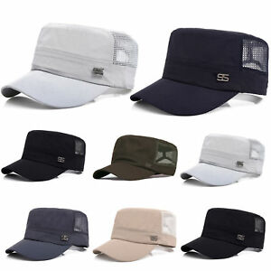 8a915ef5827 Image is loading Men-Plain-Army-Military-Patrol-Cadet-BaseBall-Cap-