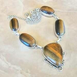 Handmade-Dorado-de-Tigre-Ojo-Piedra-Preciosa-Plata-de-Ley-925-Collar-17-034-N01834