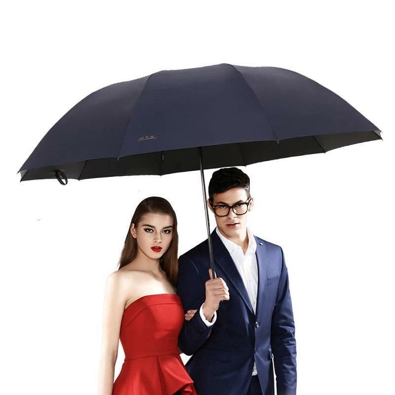 Women Umbrella Men Anti UV Sun Rain Folding Windproof Metal 130cm Luxury Fabric