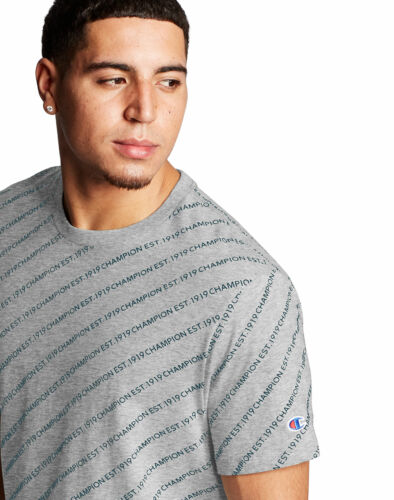 Champion Men Tee T-Shirt Heritage Allover Logo Short Sleeve 100/% Cotton sz S-2XL