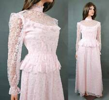 Vintage 70s Victorian Lace Dress XS Long Sleeve Pink Bridesmaid Wedding Gown